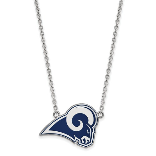 Los Angeles Rams Small Enamel Pendant with Necklace Sterling Silver
