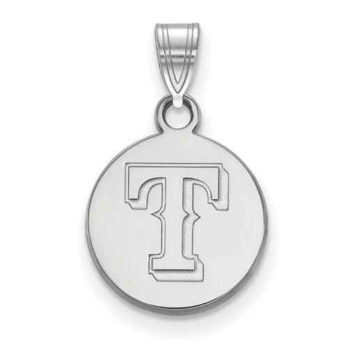 14k White Gold 1/2in Texas Rangers Round Pendant
