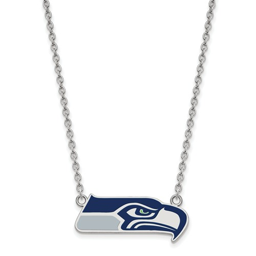 Seattle Seahawks Enamel Pendant with Necklace Sterling Silver
