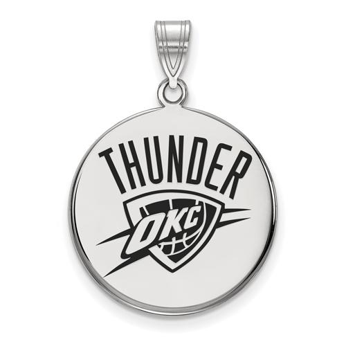 Sterling Silver 3/4in Oklahoma City Thunder Enamel Pendant
