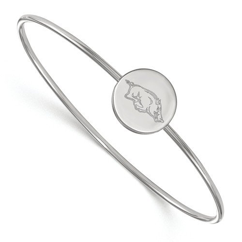 Sterling Silver 8in University of Arkansas Slip-on Bangle