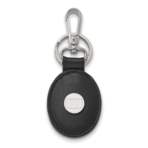 Sterling Silver University of Miami Black Leather Oval Key Chain