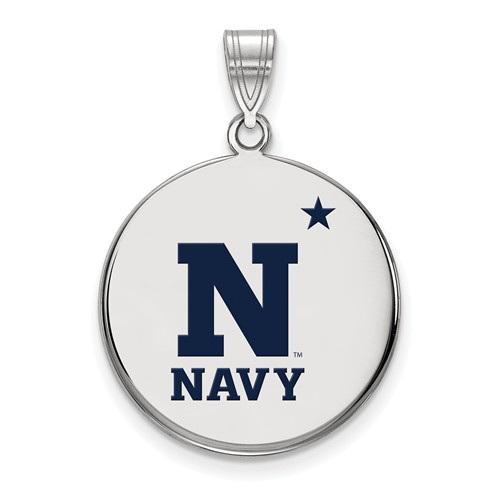 United States Naval Academy Enamel Disc Pendant 3/4in Sterling Silver
