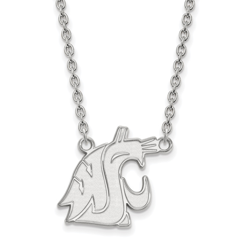 Sterling Silver 3/4in Washington State University Cougar Head Pendant with 18in Chain