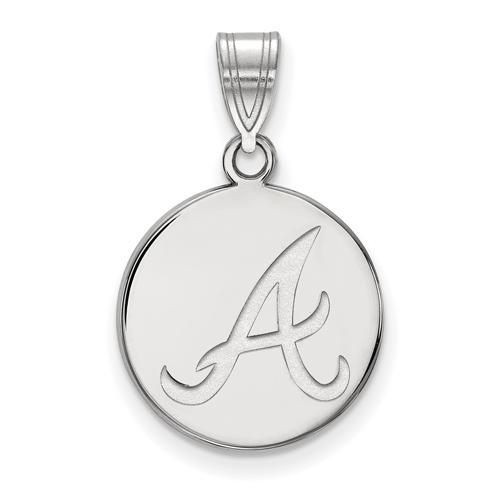 Sterling Silver 5/8in Atlanta Braves Disc Pendant