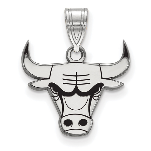 Sterling Silver 1/2in Chicago Bulls Logo Enamel Pendant
