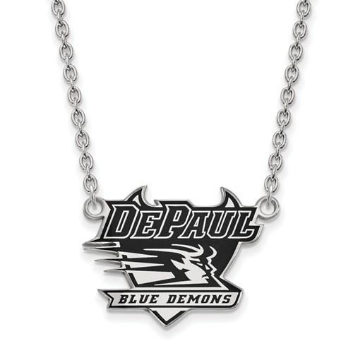 DePaul University Enamel Necklace 3/4in Sterling Silver