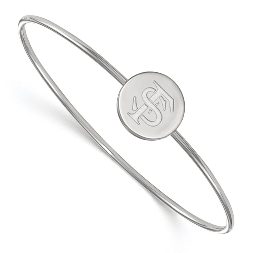 Sterling Silver 6in Florida State University Wire Bangle