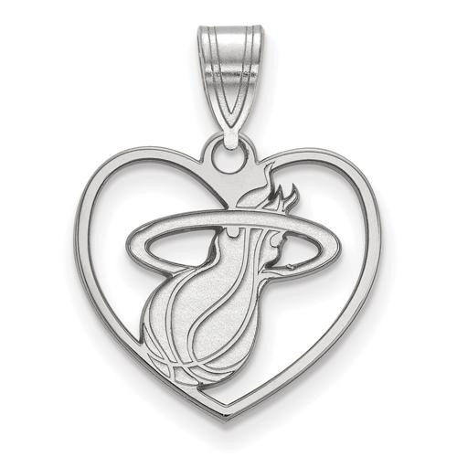 Sterling Silver 5/8in Miami Heat Heart Pendant
