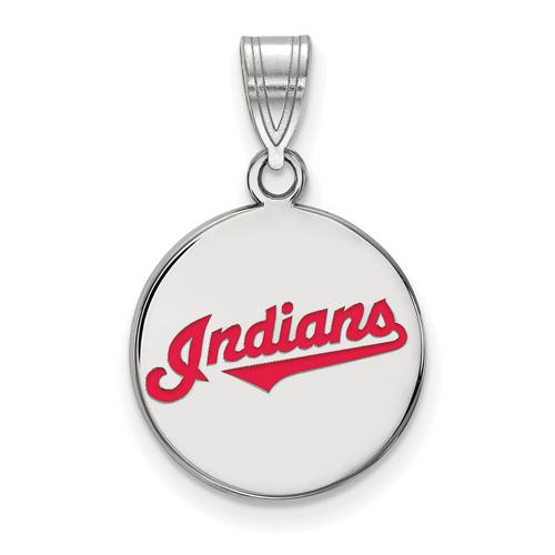 Sterling Silver 5/8in Cleveland Indians Enamel Pendant