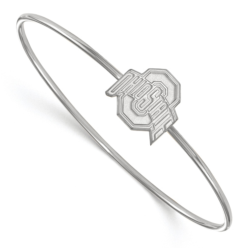 Sterling Silver 8in Ohio State University Wire Bangle