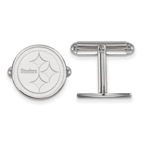 Pittsburgh Steelers Round Cuff Links Sterling Silver