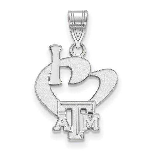 Sterling Silver I Love Texas A&M University Beveled Logo Pendant