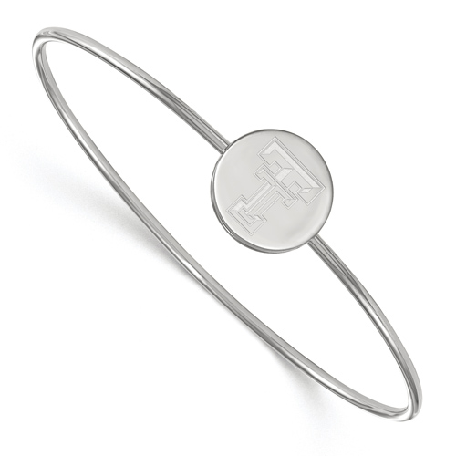Sterling Silver 6in Texas Tech University Slip on Wire Bangle