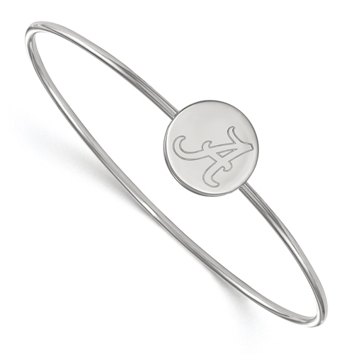 Sterling Silver 7in University of Alabama Slip on Wire Bangle