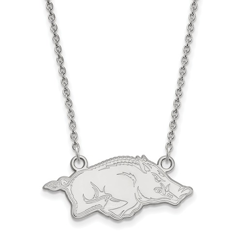 14k White Gold Small University of Arkansas Pendant with 18in Chain