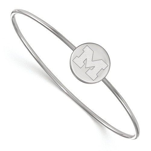 Sterling Silver 7in University of Michigan Slip on Wire Bangle