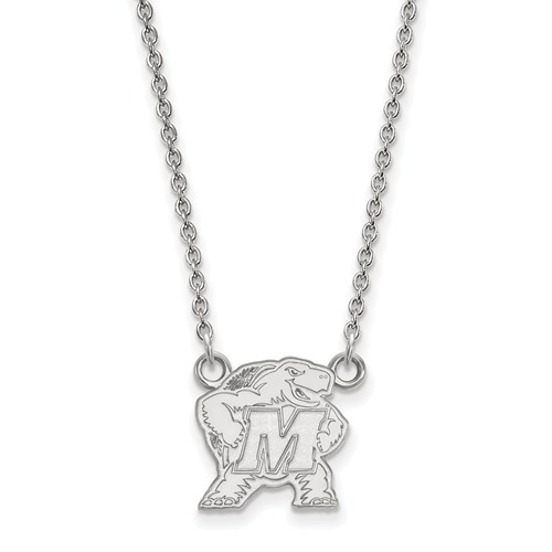 Sterling Silver Small University of Maryland Pendant with 18in Chain