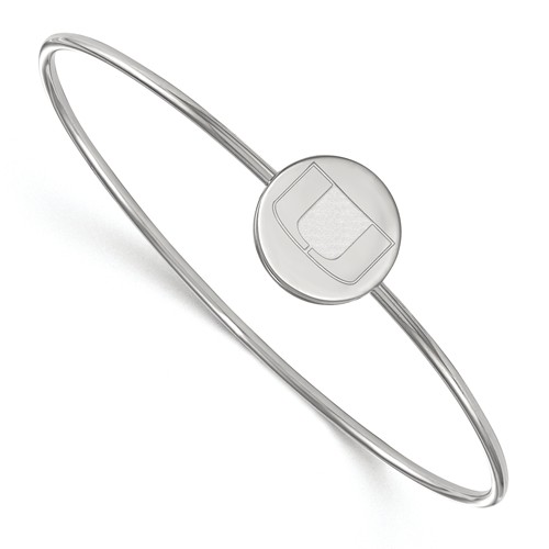 Sterling Silver 8in University of Miami Slip on Wire Bracelet