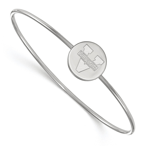 Sterling Silver 6in University of Virginia Slip on Wire Bangle