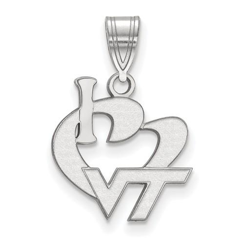 Sterling Silver I Love Virginia Tech Pendant 5/8in