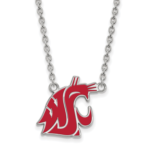 Sterling Silver Washington State University Enamel Pendant with 18in Chain