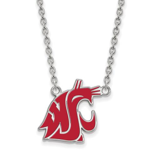 Silver Washington State University Enamel 18in Necklace
