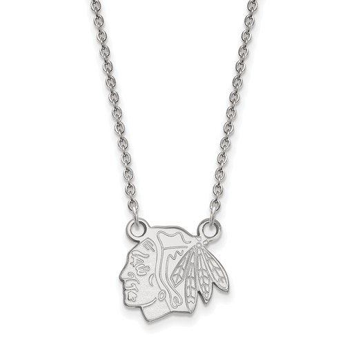 Chicago Blackhawks Logo Pendant on Necklace Sterling Silver