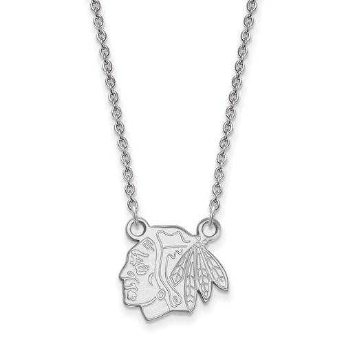 Chicago Blackhawks Pendant on Necklace 14k White Gold