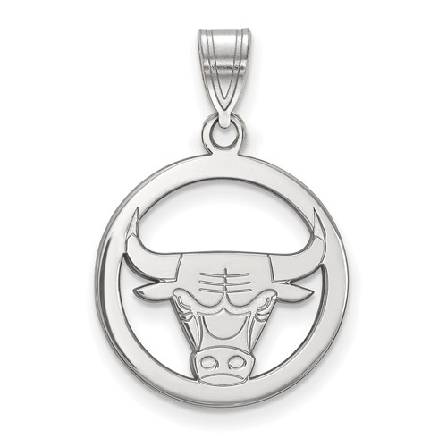 Sterling Silver 5/8in Chicago Bulls Circle Pendant
