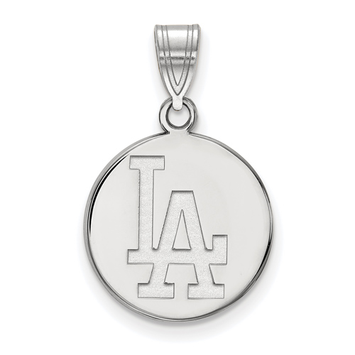 Sterling Silver 5/8in Los Angeles Dodgers Disc Pendant