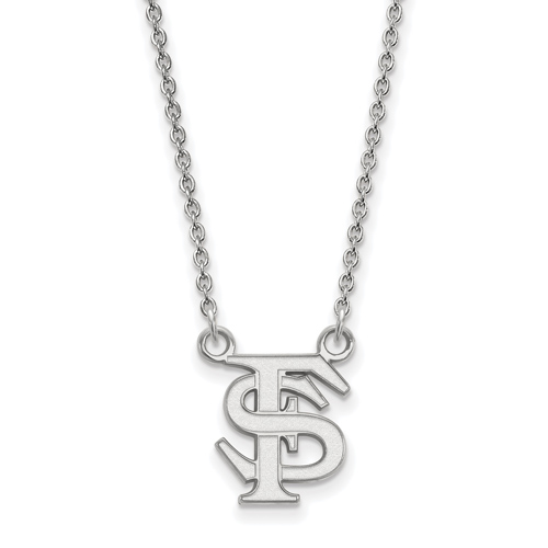 Sterling Silver 1/2in Florida State University FS Pendant on 18in Chain