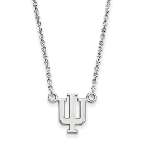 Sterling Silver 1/2in Indiana University Pendant with 18in Chain