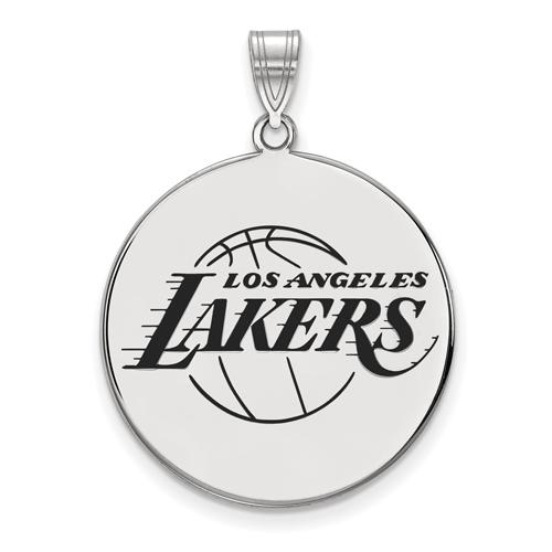 Sterling Silver 1in Los Angeles Lakers Enamel Pendant