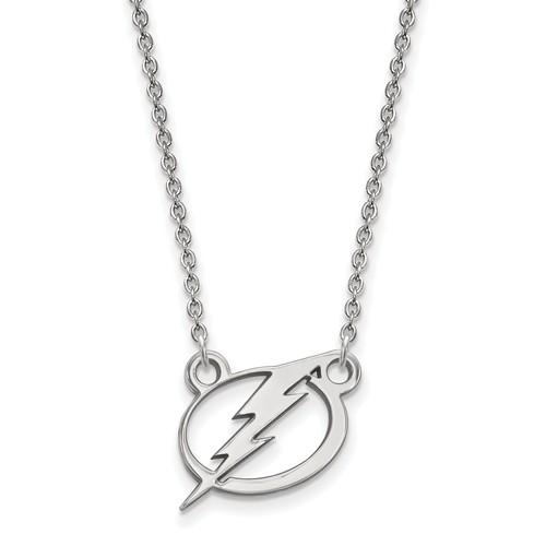 Sterling Silver Small Tampa Bay Lightning Pendant with 18in Chain
