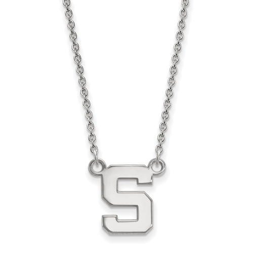 Sterling Silver 1/2in Michigan State University Block S Pendant with 18in Chain
