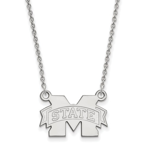Mississippi State University Pendant on Necklace Sterling Silver