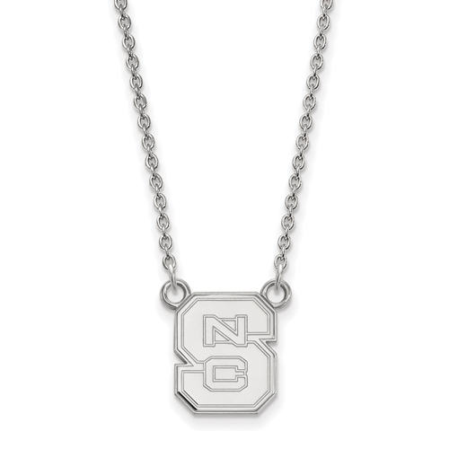 Sterling Silver 1/2in North Carolina State University Block S Pendant with 18in Chain
