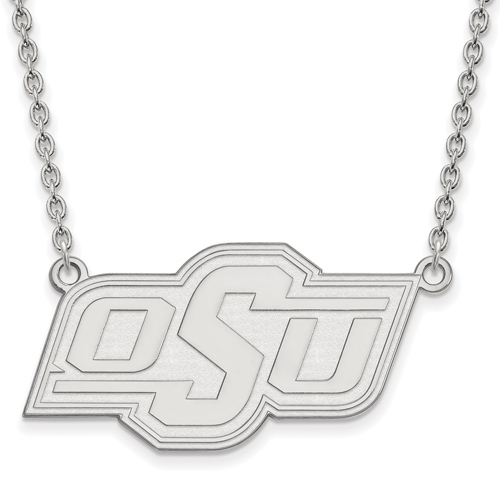 Sterling Silver Oklahoma State University Logo Pendant with 18in Chain