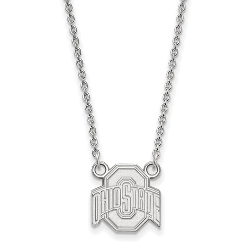 Sterling Silver 1/2in Ohio State University Logo Pendant on 18in Chain