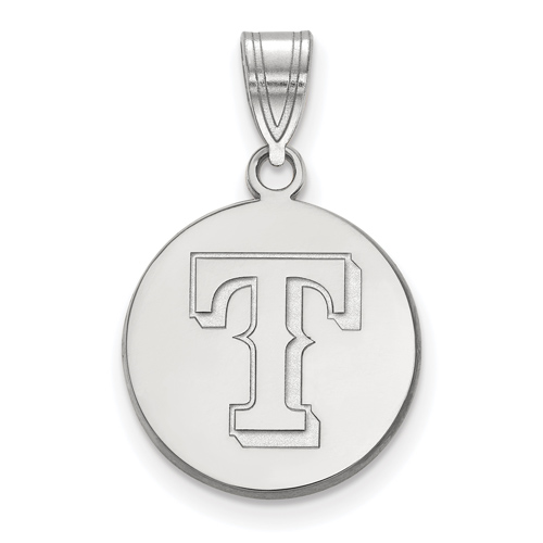 14k White Gold 5/8in Texas Rangers Logo Pendant