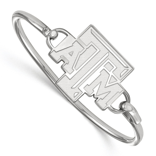 Sterling Silver 7in Texas A&M University Bangle Bracelet