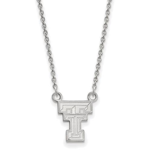 Sterling Silver 1/2in Texas Tech University Pendant with 18in Chain