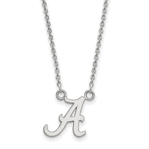 Sterling Silver 1/2in University of Alabama A Pendant with 18in Chain