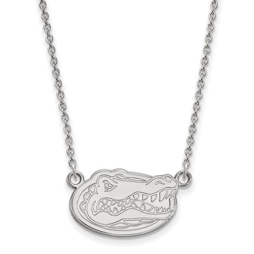 Silver 1/2in University of Florida Gator Head Pendant with 18in Chain
