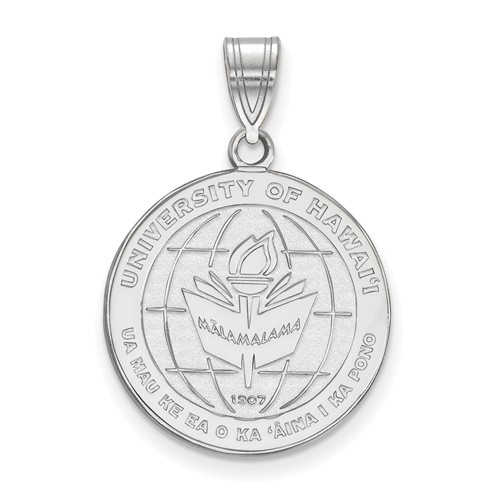 University of Hawaii Seal Pendant 3/4in Sterling Silver