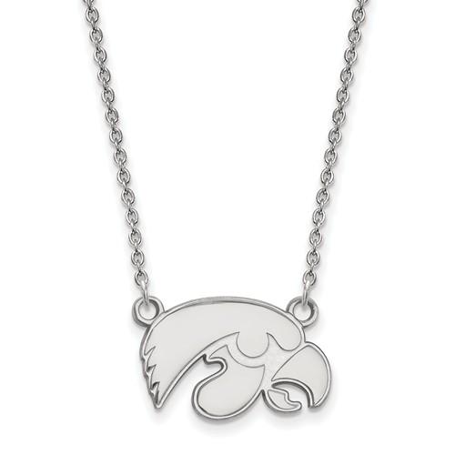 University of Iowa Tigerhawk Necklace 10k White Gold