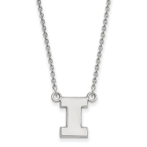 Silver 1/2in University of Illinois Block I 18in Necklace
