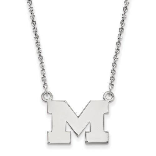 Sterling Silver 1/2in University of Michigan M Pendant with 18in Chain