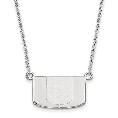 Sterling Silver 1/2in University of Miami U Pendant with 18in Chain